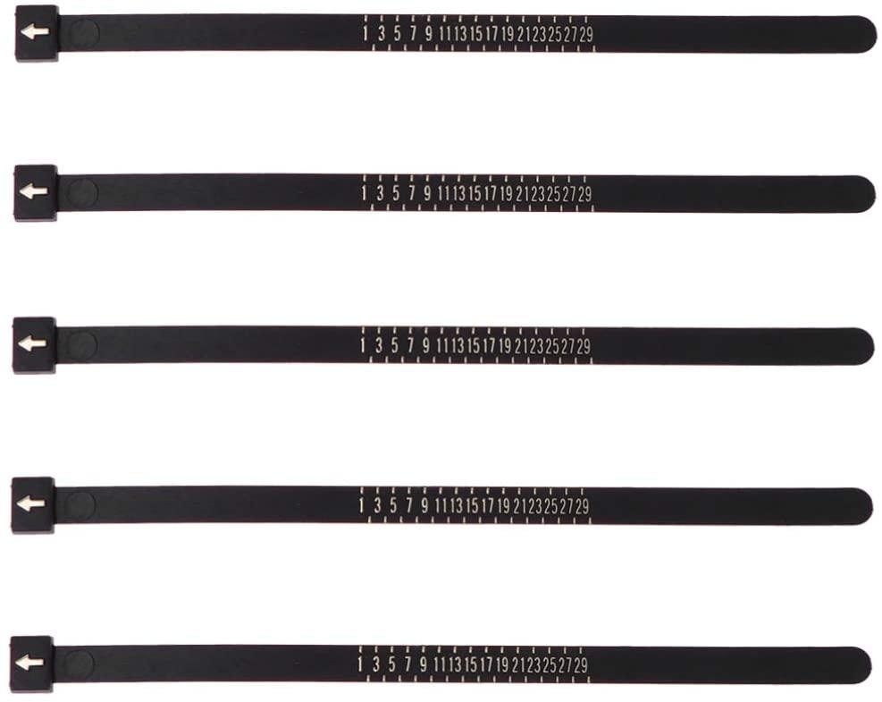 Supvox 5pcs Ring Sizer Set Jewelry Measurement Plastic Finger Sizer Ring Gauge Measuring Tool Belt for Womens Mens Kids (Black JPA Size)