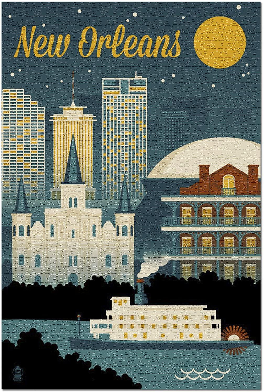 New Orleans, Louisiana - Retro Skyline 68605 (19x27 Premium 1000 Piece Jigsaw Puzzle for Adults)