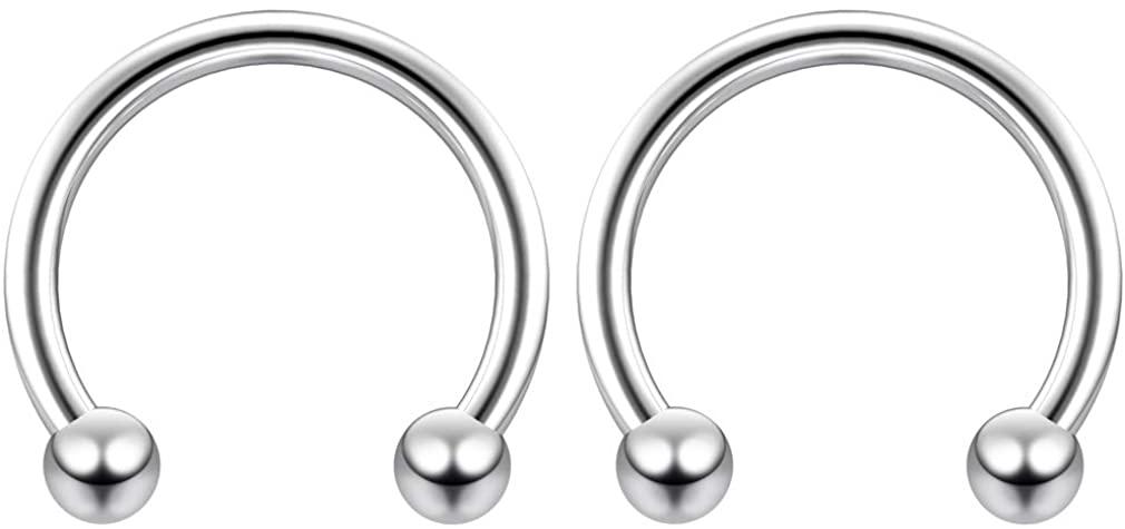 2pc 14g Surgical Stainless Steel Horseshoe Hoop 3mm Ball Circular Barbells Earrings Cartilage Helix Septum Nose Lip Rings - Select Diamter