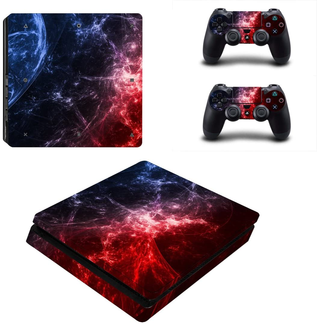 FOTTCZ Full Body Red and Blue Cosmic Nebular Protective Vinyl Skin Decal for PS4 Slim Console and 2PCS Controller Skins Stickers