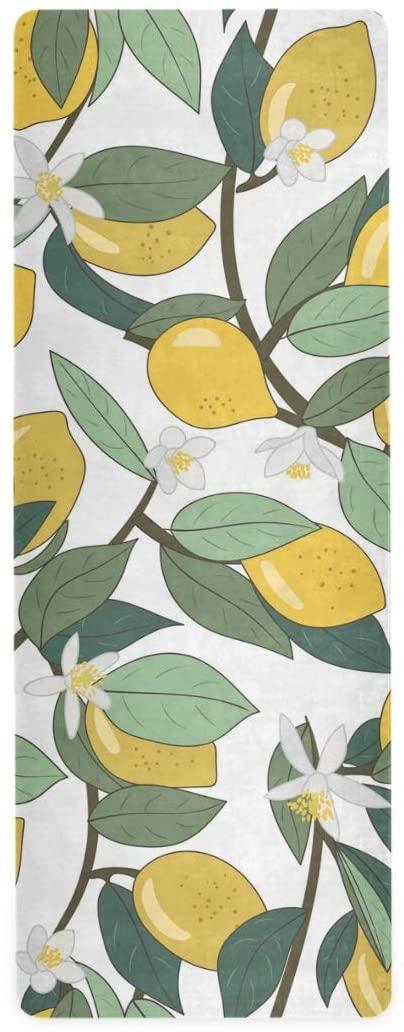 ALAZA Tropical Yellow Lemons Yoga Mat Non Slip 1mm Thick Foldable Travel Exercise Mat for Men Women Girls 71x26 Inches
