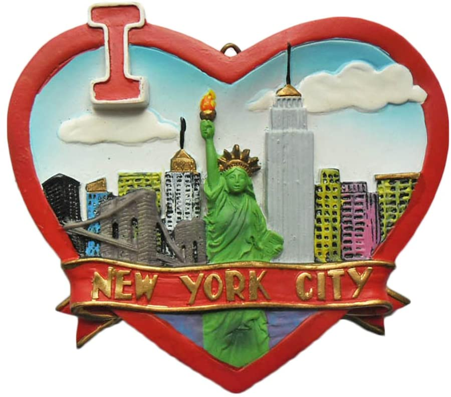 New York USA America Refrigerator Magnet 3D Heart-shaped Travel Sticker Souvenirs Collection,Home & Kitchen Decoration,USA Fridge Magnet from China