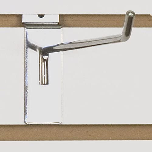 Slatwall Wire Hook in Chrome 10 L x 1/4 D Inches - Count of 100
