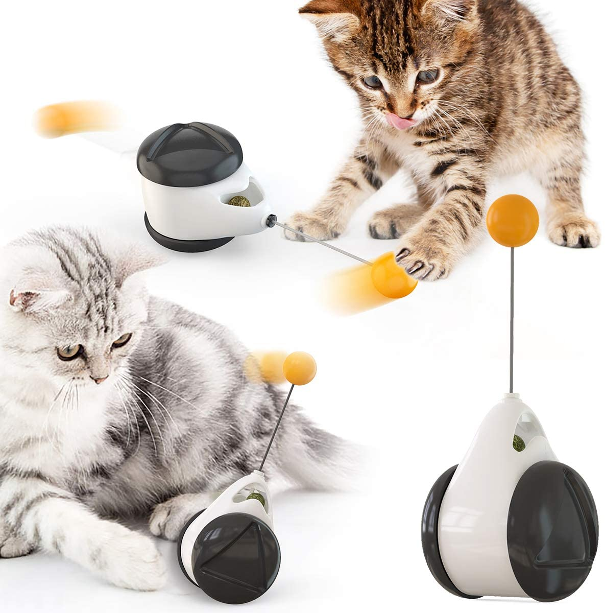 WY Shop Interactive Cat Chaser Toys Catnip Ball Toy, Balanced Cat Toys with Ball, Chasing Toy for Indoor Cats, Interactive Kitten Swing Toy