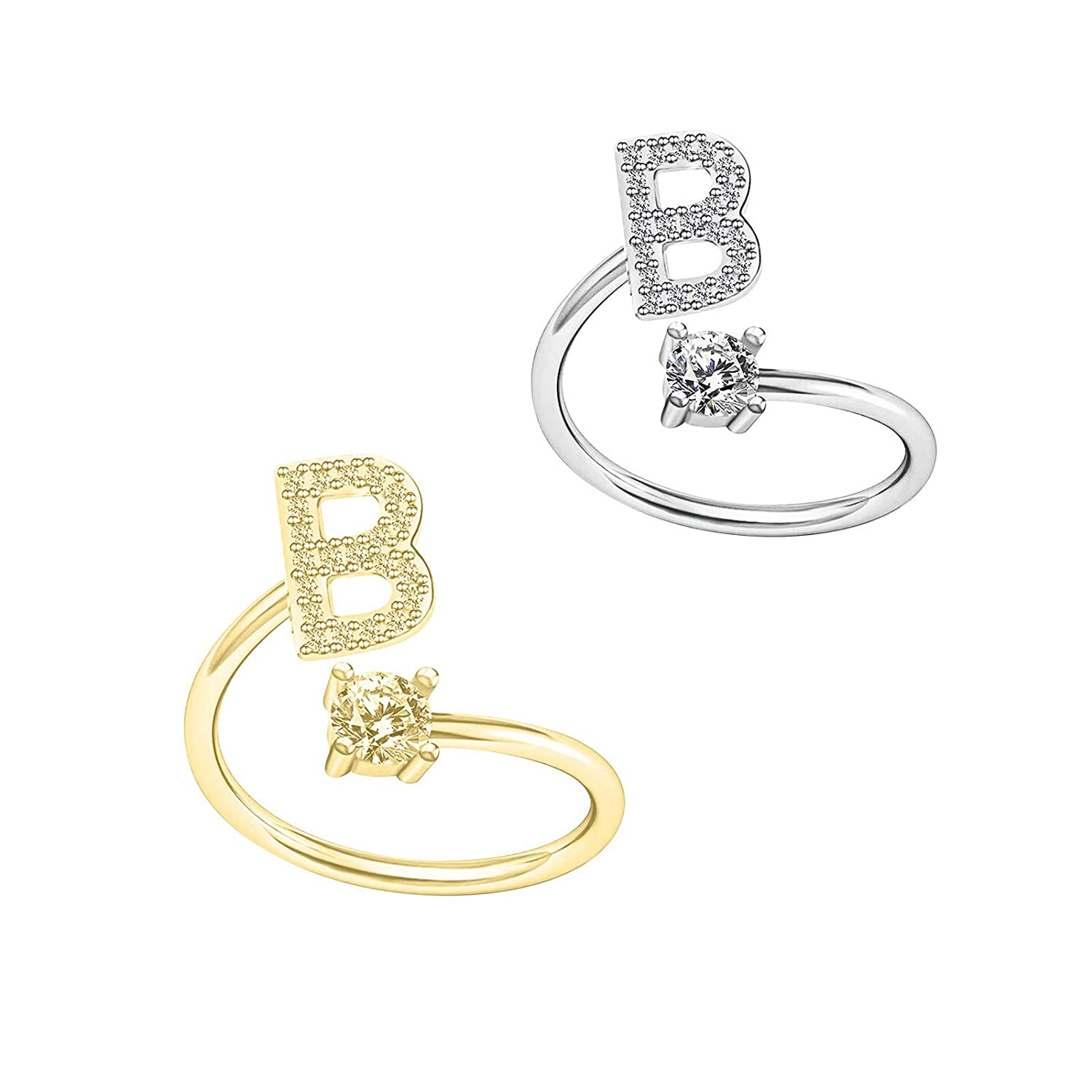 YINZI 1Pair 925 Ring 26 English Letter Ring Solid Color Rhinestone Diamond Carving Couple Friend Ring Alphabet Wedding Band Couple Ring Opening Adjustable Ring Jewelry Accessories (One, B)
