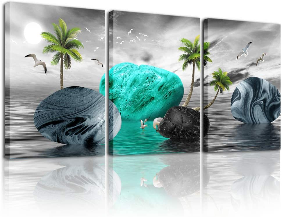 Wall decorations for living room Canvas Wall Art for bedroom Black and white wall decor Canvas Art Blue stone paintings bathroom Home Decoration 3 Piece Ready to Hang Pictures office Wall Artworks