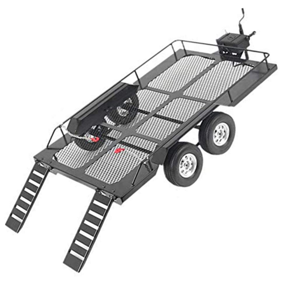 Rock Crawler RC Car Trailers,Universal Metal Simulation Big Drag Trail Car Trailer Dual Axle Flatbed Trailer Kit Accessory with Four Tires Fit for 1/10 RC Climbing Crawler Rock Buggy Car
