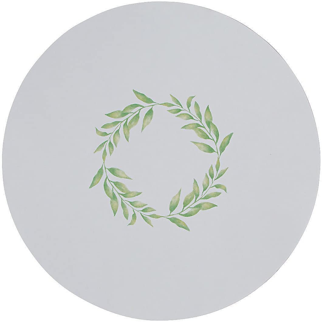 GREENERY ROUND PAPER PLACEMATS (50PC) - Party Supplies - 50 Pieces