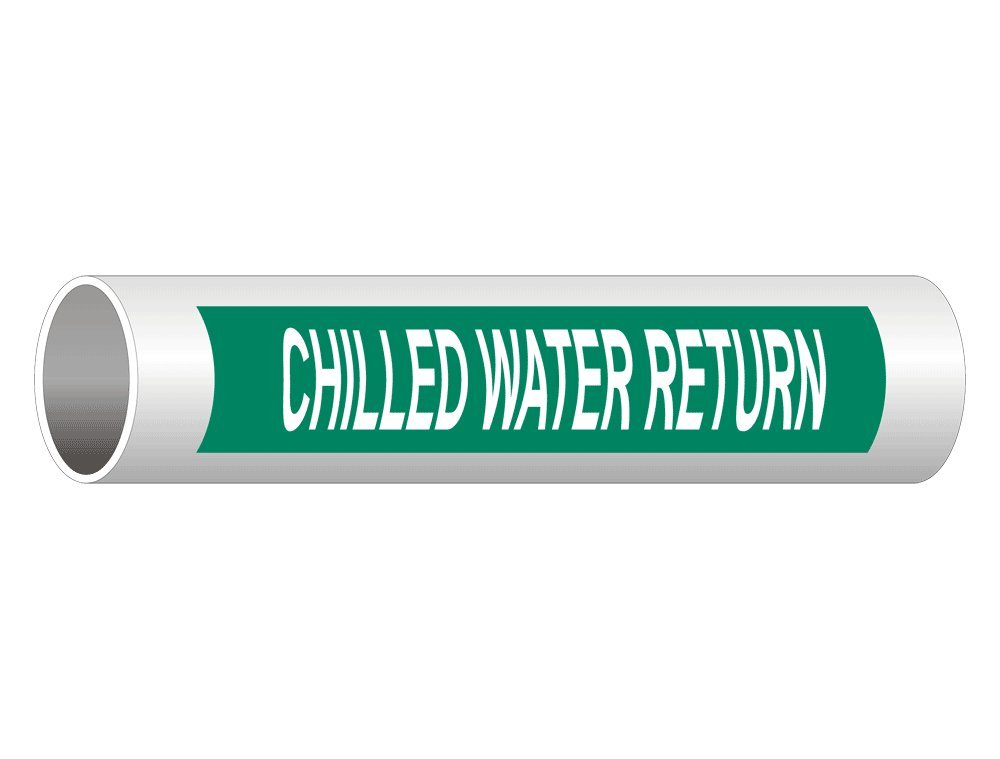 Chilled Water Return (White Legend On Green Background) ASME A13.1 Pipe Label Decal, 8x2 in. 5-Pack Vinyl for Pipe Markers by ComplianceSigns