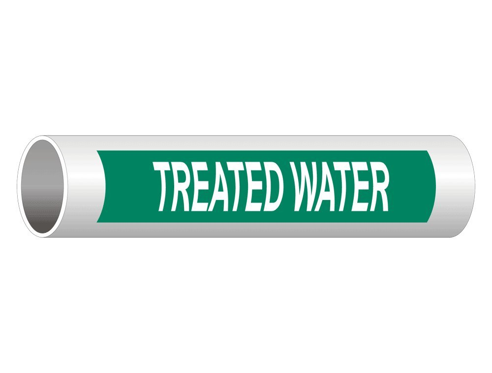 Treated Water (White Legend On Green Background) Pipe Label Decal, 8x2 inch 5-Pack Vinyl for Pipe Markers by ComplianceSigns