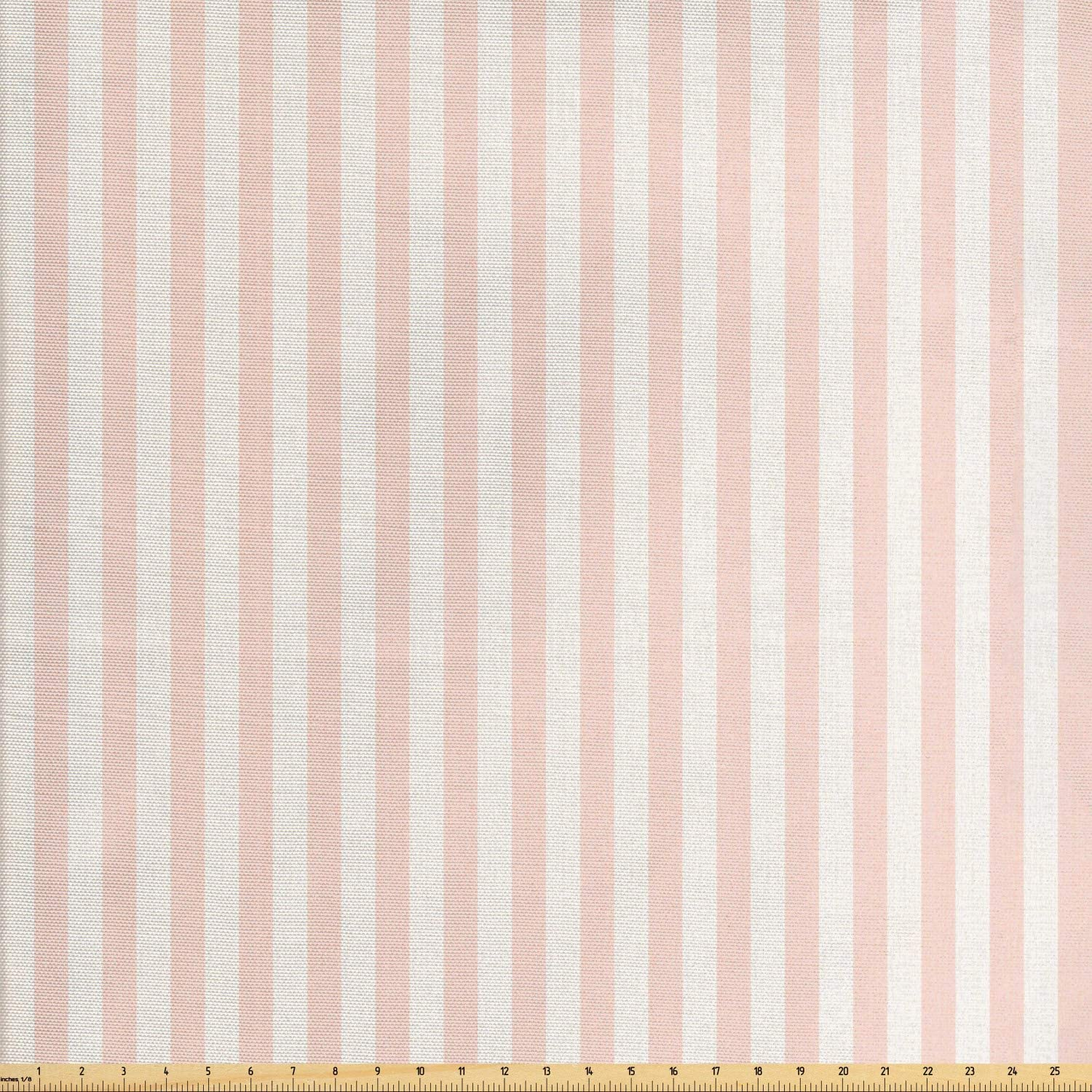 Lunarable Striped Fabric by The Yard, Vintage Inspirations Geometric Arrangement Grunge Line Pattern Monochrome Ornate, Decorative Fabric for Upholstery and Home Accents, 1 Yard, White Blush