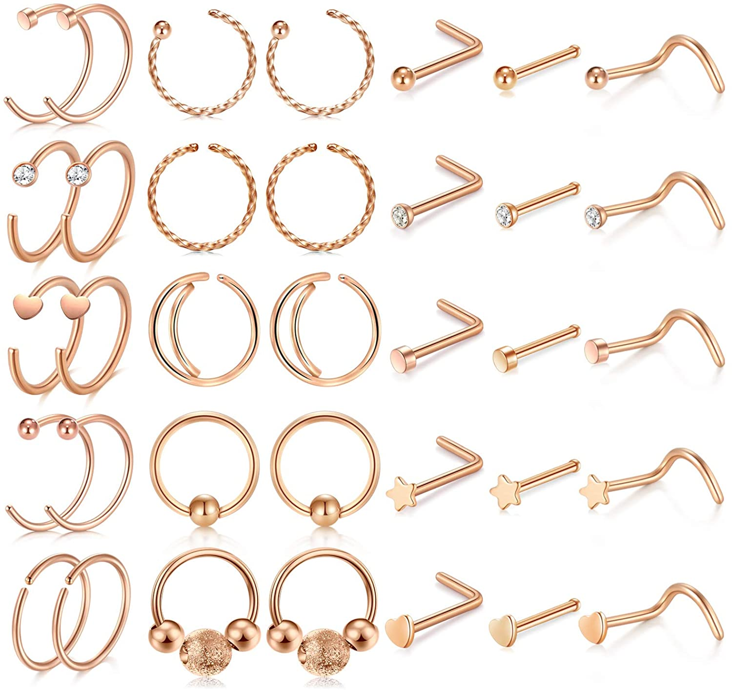 MODRSA Nose Rings Hoop 20g Nose Studs l Shaped Surgical Stainless Steel Nose Screw 20gauge Star Heart Opal Diamond Nostril Nose Piercing Jewelry Set for Women Men