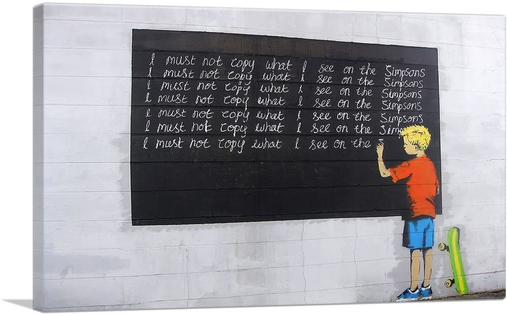 ARTCANVAS I Must Not Copy What I See on Simpsons Canvas Art Print by Banksy - 40 x 26 (0.75 Deep)