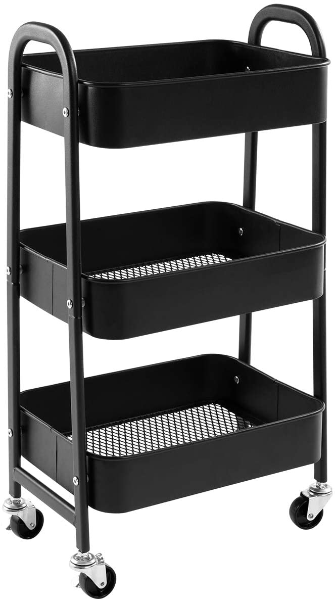 AGTEK Makeup Cart, Movable Rolling Organizer Cart, Black 3 Tier Metal Utility Cart