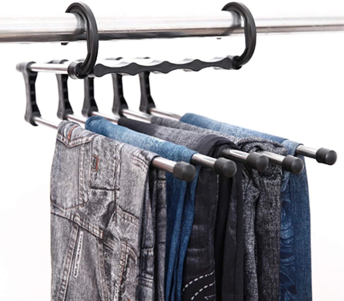 top-jjxkj Pants Hangers,Multi-Function Folding Stainless Steel Pants Hanger Retractable Space Saving Trouser Storage Rack Clothes Hanging Organizer Rack