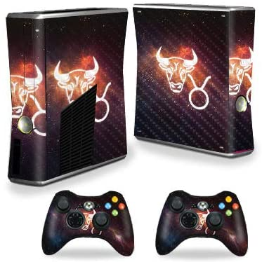 MightySkins Carbon Fiber Skin for Xbox 360 S Console - Taurus | Protective, Durable Textured Carbon Fiber Finish | Easy to Apply, Remove, and Change Styles | Made in The USA