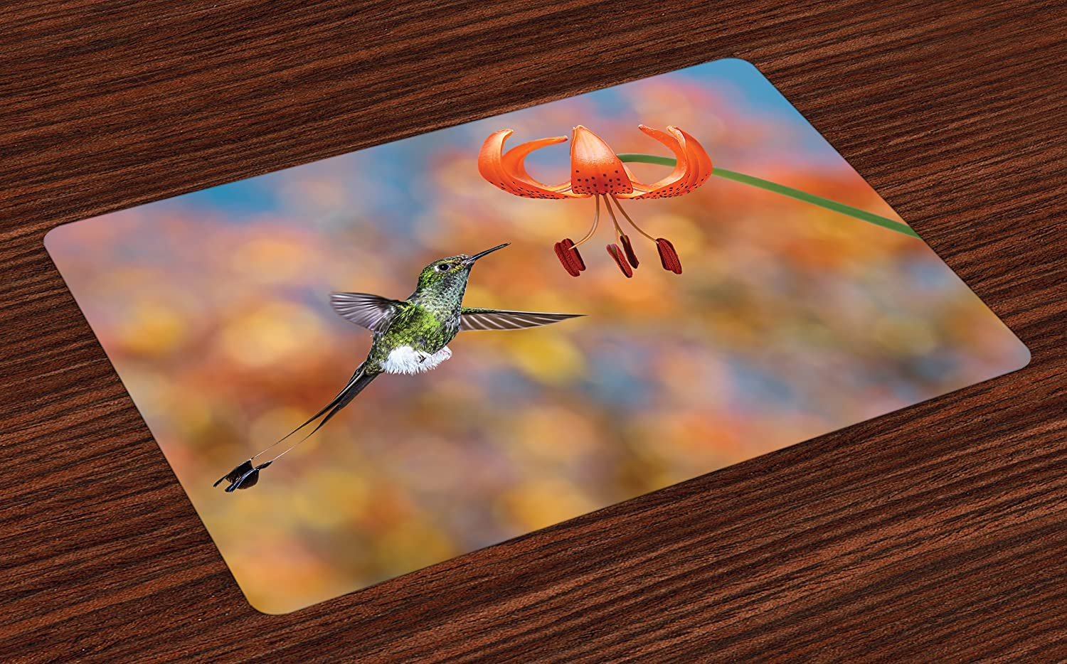 Ambesonne Hummingbird Place Mats Set of 4, Booted Racket Tail Feeding Nectar from Tiger Lily Blur Background Photo, Washable Fabric Placemats for Dining Room Kitchen Table Decor, Orange Green
