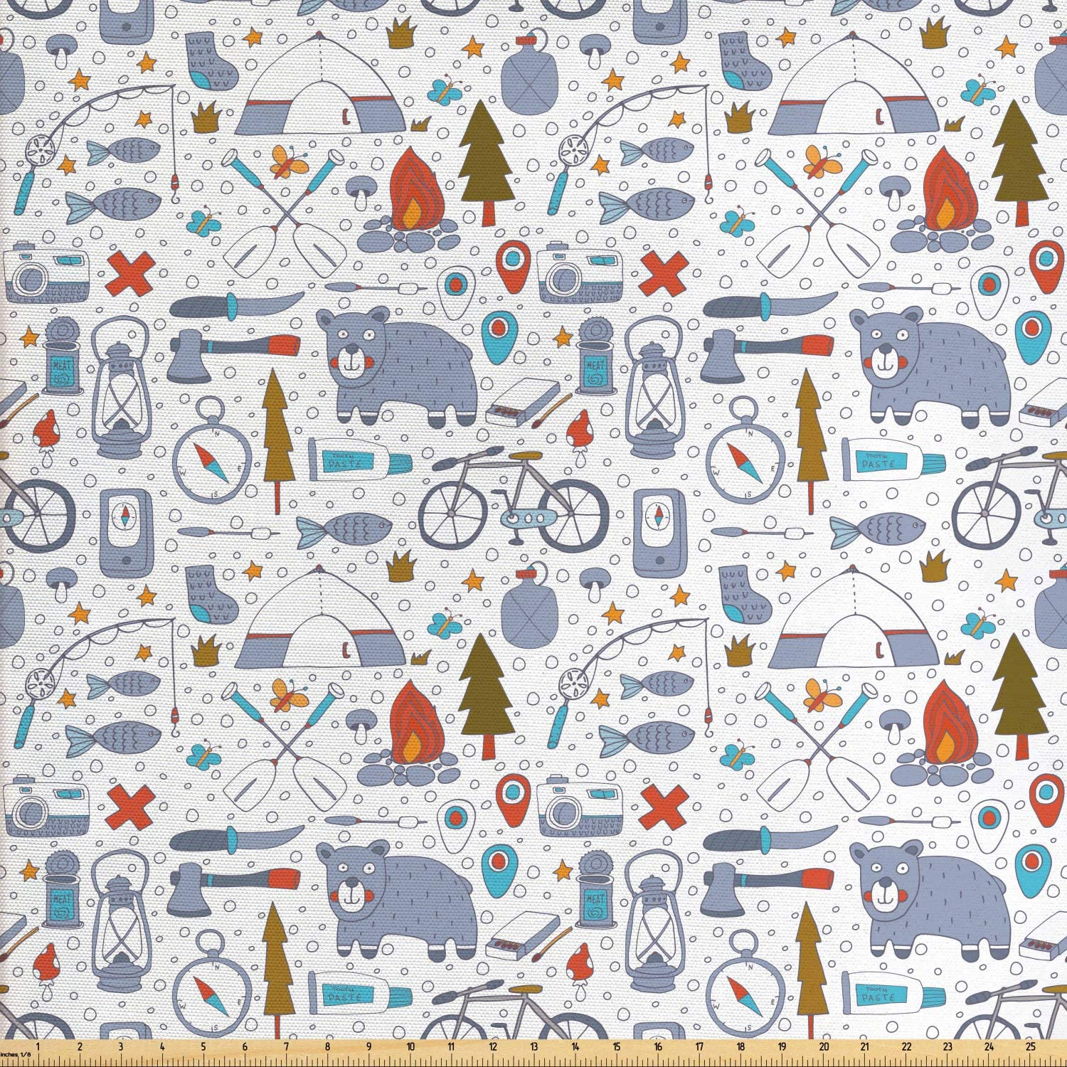 Lunarable Camping Fabric by The Yard, Cartoon Bear Tent and Compass Outdoor Hobby Theme Hiking Doodle, Decorative Fabric for Upholstery and Home Accents, 3 Yards, Vermilion Bluegrey