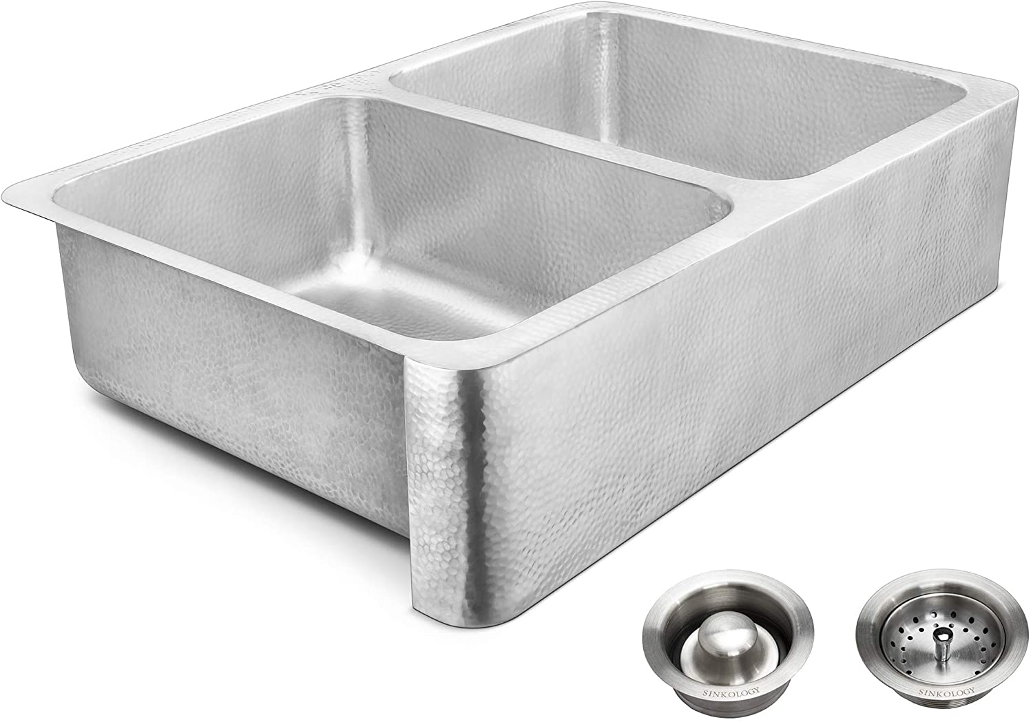 Sinkology SK702-33HSB-AMZ-BD Anning Farmhouse 32 in. Double Bowl Brushed and Drains Crafted Stainless Steel Kitchen Sink