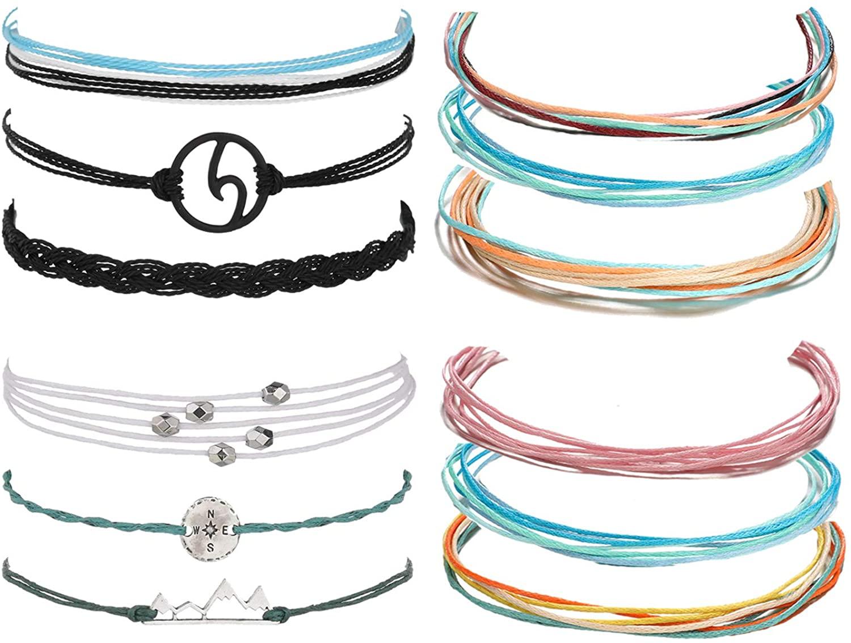 Highven Vsco Bracelet Summer Surfer Wave Bracelet for Woman Adjustable Braided Rope Bracelet Set Waterproof Strand Bracelet Friendship Bracelet