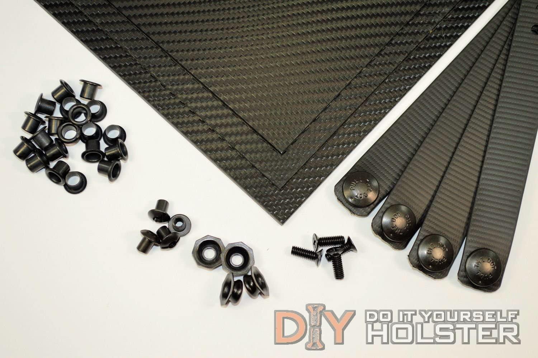 Kydex (Boltaron) Holster DIY Kit w/IWB Soft Loops, Black Carbon Fiber Texture