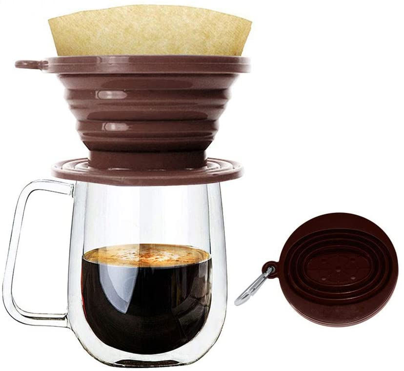 Wolecok Collapsible Pour Over Coffee Dripper,Silicone Reusable Cone Filter Holder for Camping Backpacking Travel