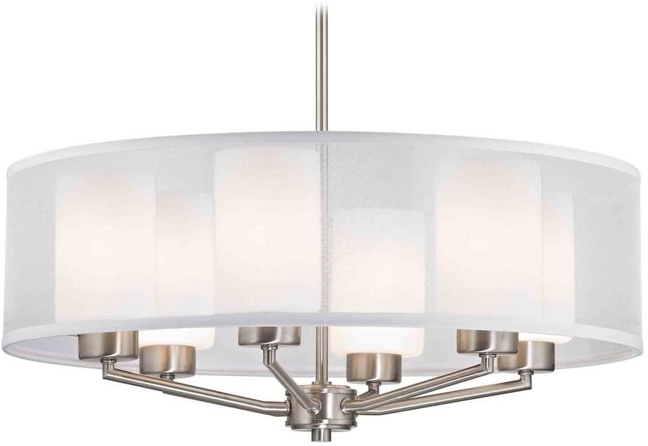 Design Classics Lighting Organza Drum Pendant Light Satin Nickel 6-Light