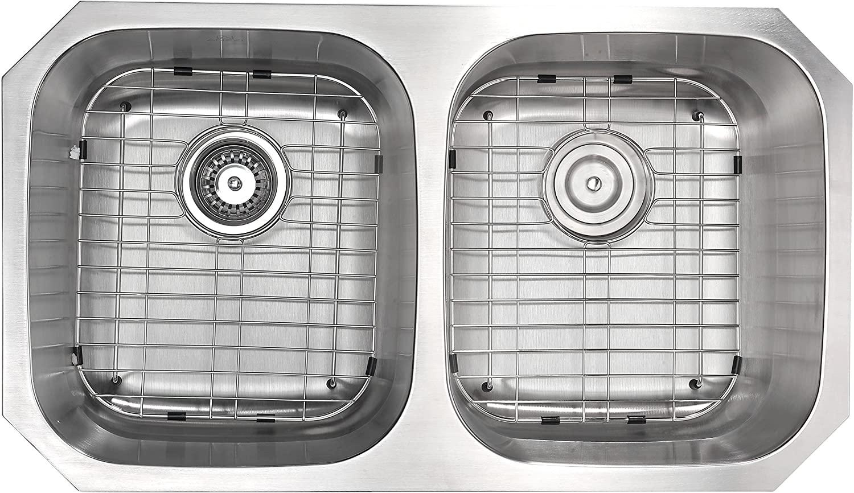 ANZZI Moore 32 Inch 304 Stainless Steel Undermount Double Kitchen Sink with 50/50 Split   16 Gauge Deep Soak Dual Basin Bowl Kitchen Sink with Bottom Grid, Strainer, and Drain   K-AZ3218-2B