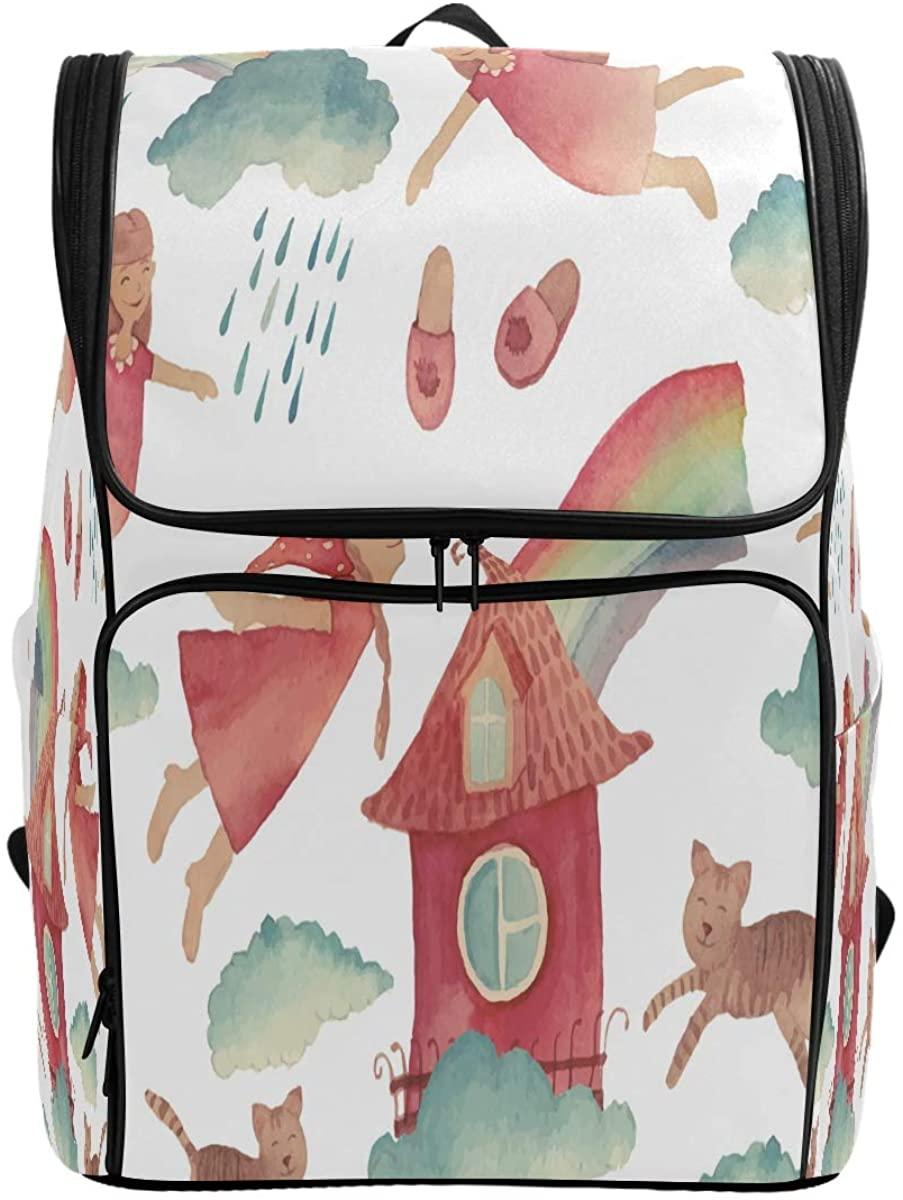 Kaariok Fairy Girl Rainbow Cat Backpack Bookbags College Laptop Daypack Travel School Hiking Bag for Womens Mens