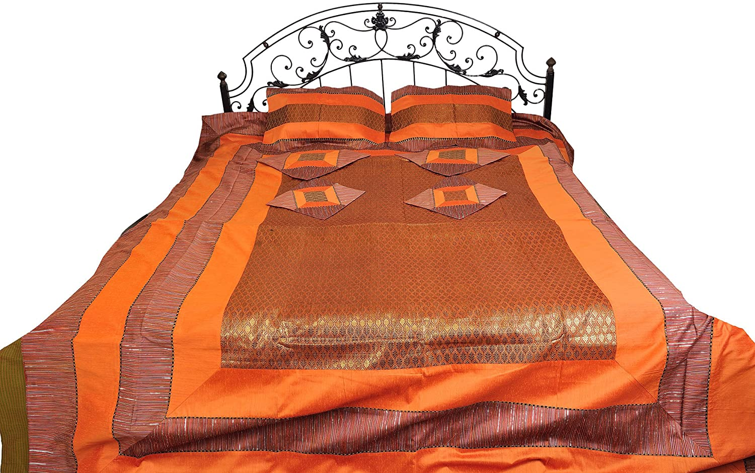 Exotic India Seven-Piece Banarasi Bedspread with Brocade Weave - Art Silk with Pillow Cases and Cushion Covers - Color Apricot Orange Color