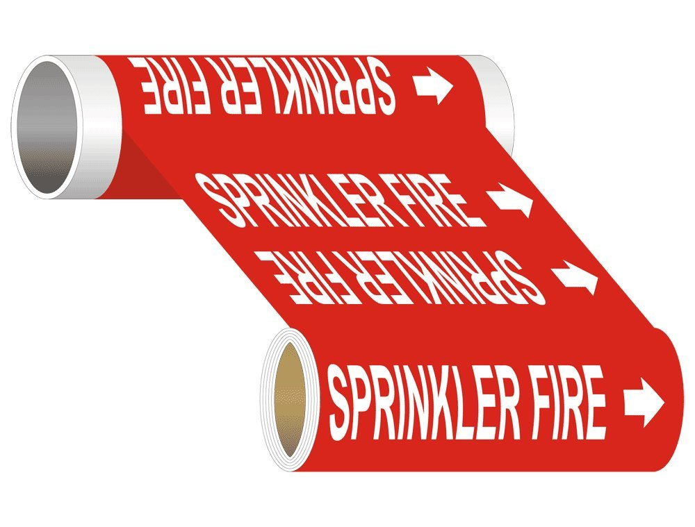 Sprinkler Fire (White Legend On Red Background) Pipe Label Decal, 30x8 in. 5-Pack Vinyl for Pipe Markers Fire Safety/Equipment by ComplianceSigns