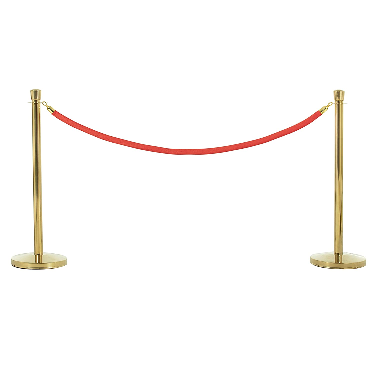 US Weight Premier Brass Post and Red Velvet Rope Crowd Control Stanchions