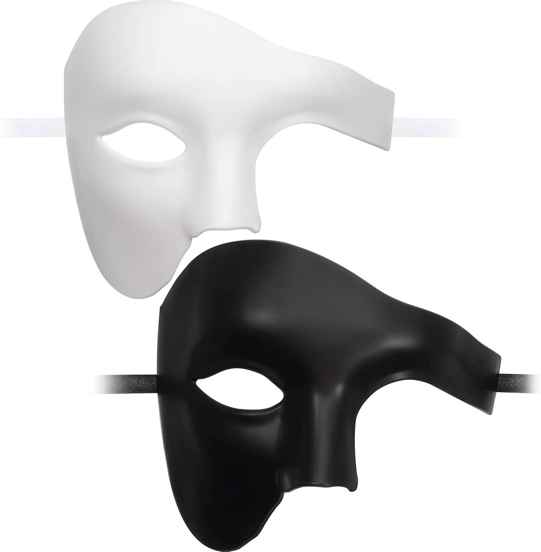 2 Pieces Masquerade Opera Face Cover Half Face Cover Venetian Masquerade One Eyed Halloween Masquerade Carnival Party Favor White and Black