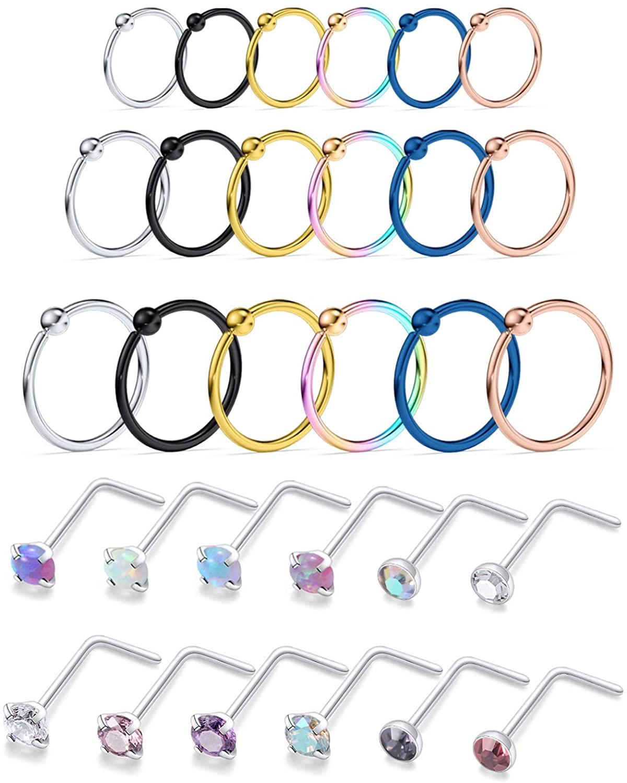Kridzisw 22G 20G 18G Nose Rings Hoop Stainless Steel L-Shaped Opal Nose Rings Studs Lip Rings Tragus Cartilage Helix Earrings Piercing Hoop 34pcs