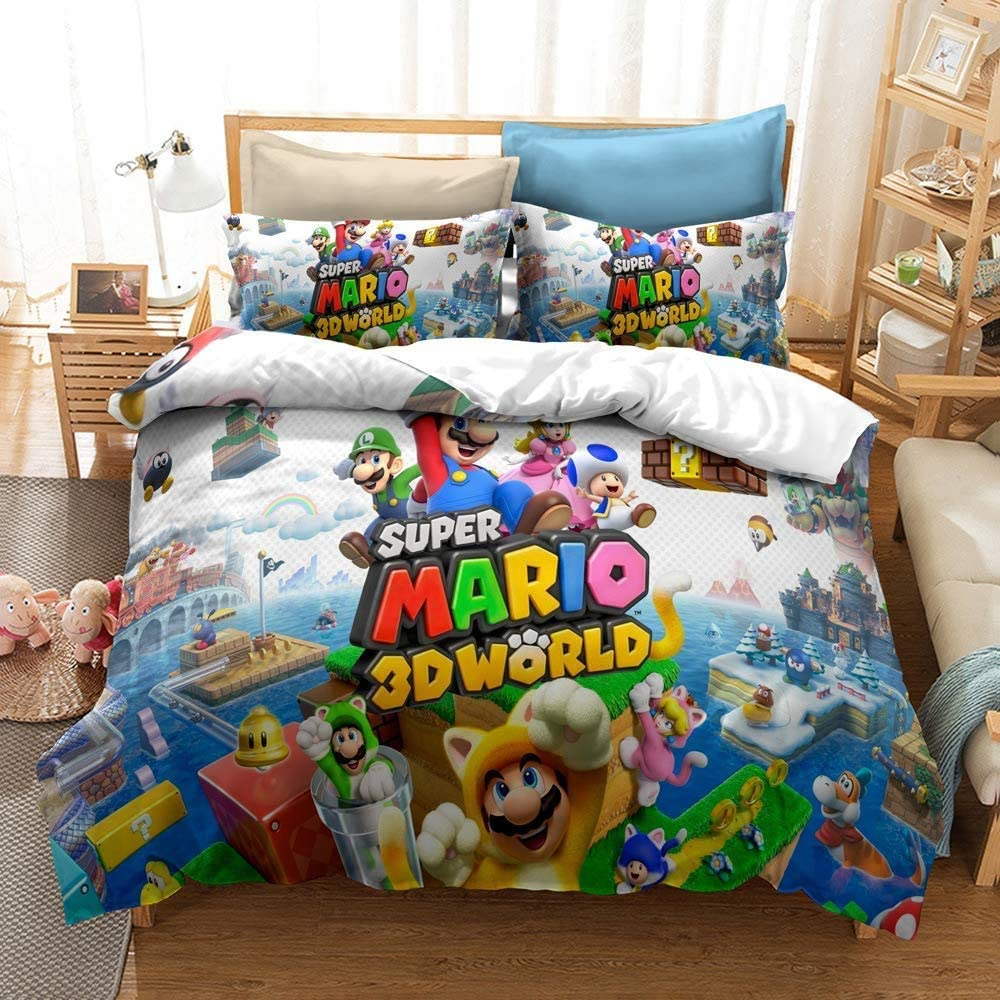 MULMF Game Characters Bedding Covers Super Mario Duvet Cover Set Bed Set Queen 3 Piece Bedspreads
