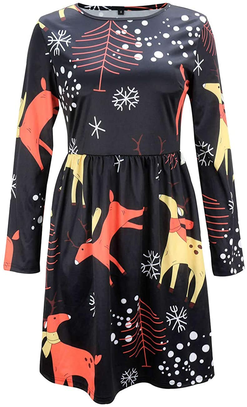 Soluo Women's Ugly Christmas Dress Casual 3/4 Sleeve Xmas Gift Swing Party Dress Santa Print Flared Swing Dresses