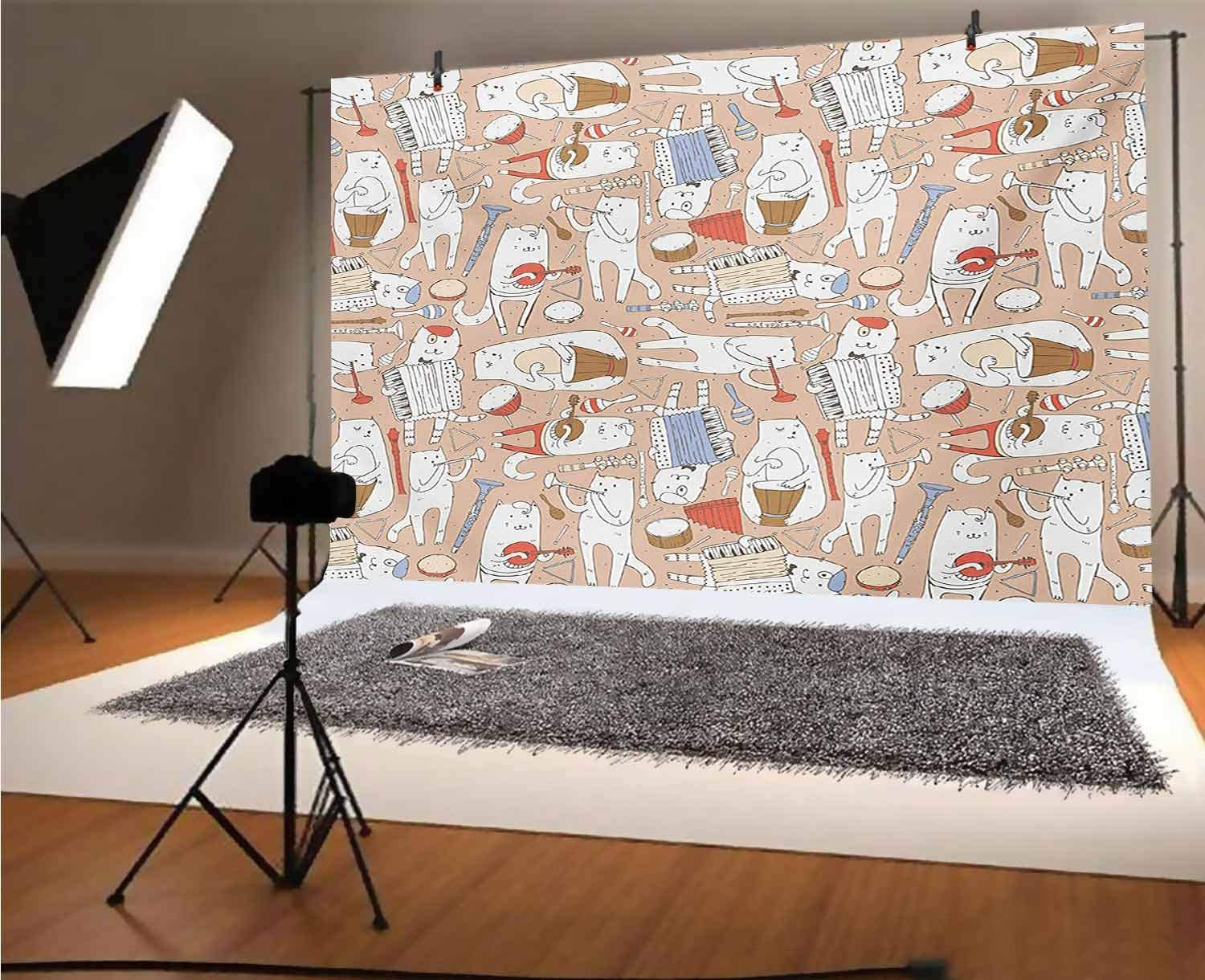 Music 10x8 FT Vinyl Photo Backdrops,Cartoon Musician Cute Cats with Drum Accordion Tube Guitar Music Theme Pattern Background for Child Baby Shower Photo Studio Prop Photobooth Photoshoot