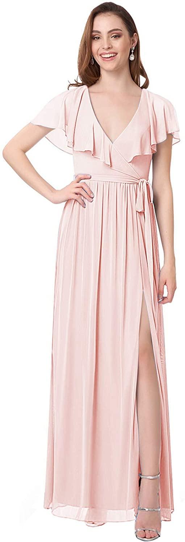 Women's Ruffles V-Neck Bridesmaid Dress Long Chiffon Formal Evening Gown with Slit