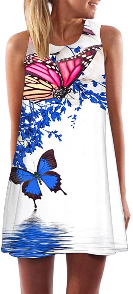 Women Loose Summer Vintage Sleeveless 3D Floral Print Short Mini Dress S Woman Dress White