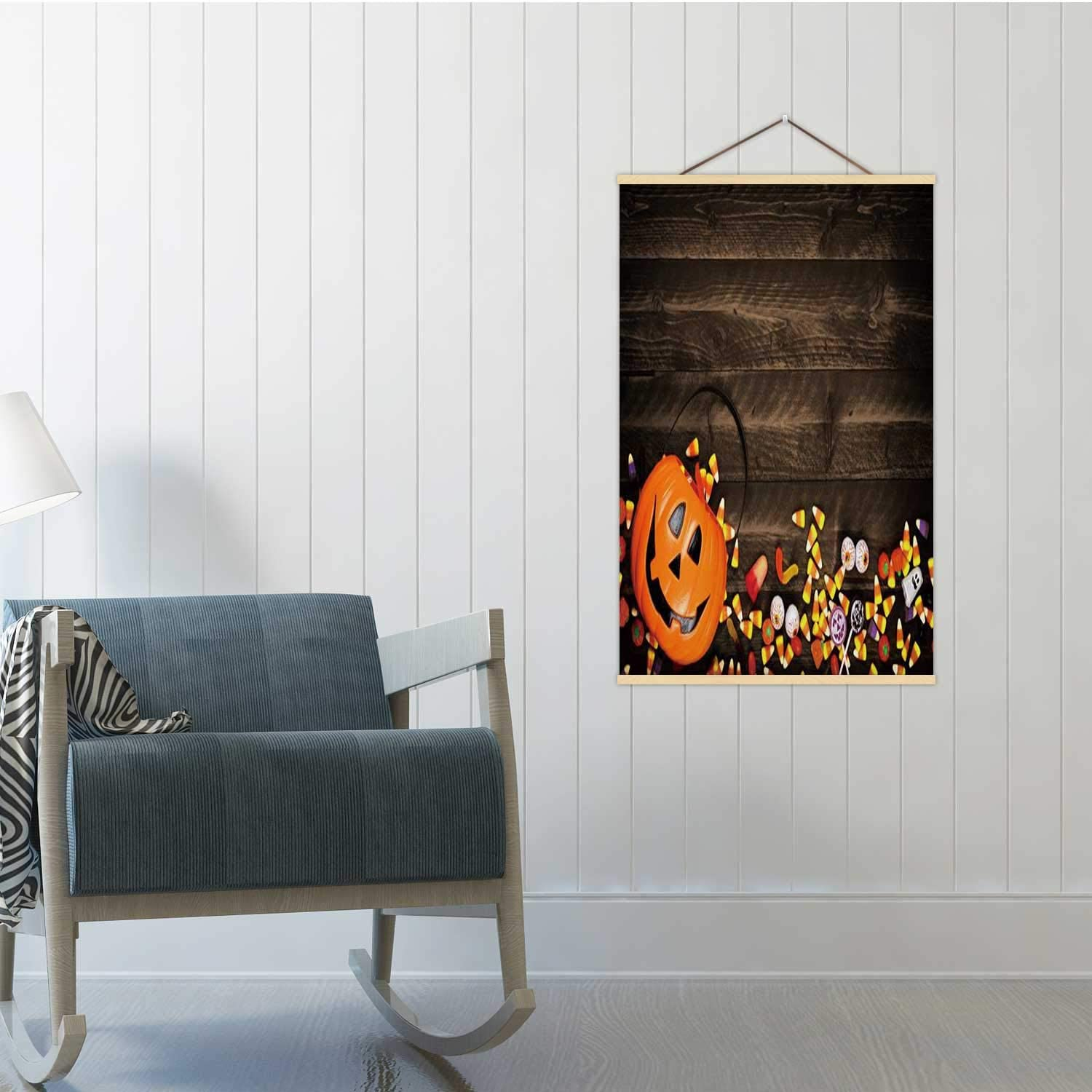 Halloween Jack o Lantern Pail with Bottom Border of Spilling Candy Over Dark Wood Halloween,Poster Board Candy 16/19/24 Poster Frames 19x29in(WxH)