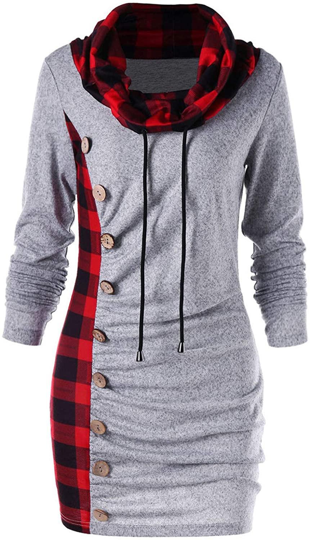 Women's Patchwork Plaid Fashion Dress Scarf Collar Buttons Decoration Casual Dress Slim Fit Plus Size Pullover Dress