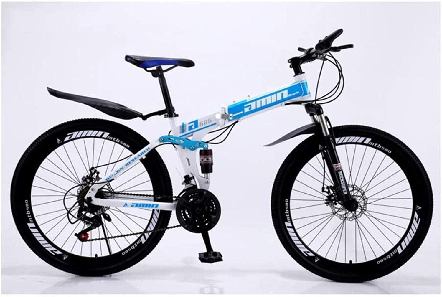 MJY 24 Inches Boy Mountain Bike, 30 Speed Spoke Wheel Folding Carbon Steel Bicycles, Double Shock Variable Speed Bicycle, Unisex 6-24),24in (30 Speed)