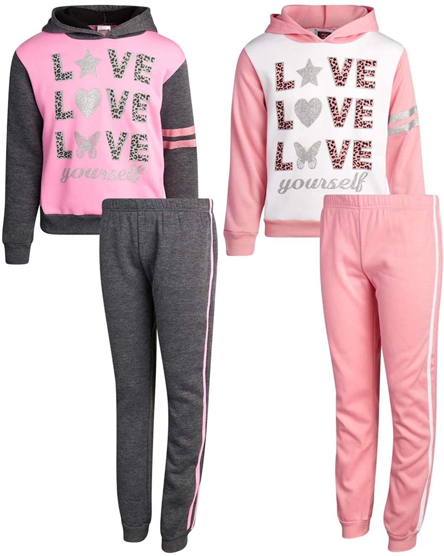 Angel Face Girls' Jogger Set - 4 Piece Fleece Pullover Hoodie Sweatshirt and Jogger Sweatpants Set
