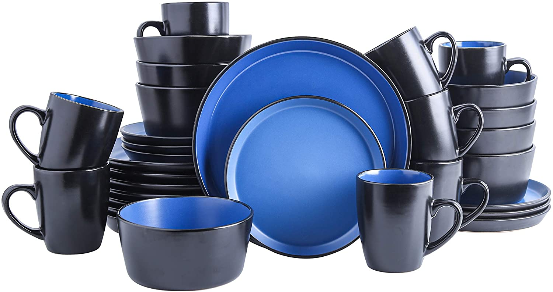 Stone Lain Stoneware Dinnerware Set, Service For 8, Blue and Black