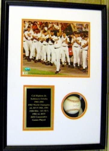 Cal Ripken Jr autographed baseball shadowbox framed (Baltimore Orioles Hall of Fame OMLB) AW Certificate of Authenticity Hologram