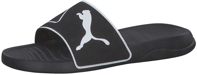 PUMA Men's Chanclas Beach and Pool Shoes, Black Black White 01, 39