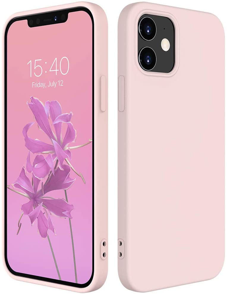 iPhone 12 Pro Case,POLEET iPhone 12 6.1 inch Silicone Phone Case, Ultra Thin Full Body Protection Case Liquid Rubber Cases Drop Protection Case for Girls and Boys (Black) (Sand Pink)