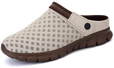 CttiuliLigx Summer Men Sandals Colorful Couples Beach Shoes Breathable Comfort Mesh Thick Bottom Slippers Man Baotou Hole Shoes Large 35-46 (Color : Beige, Shoe Size : 9)