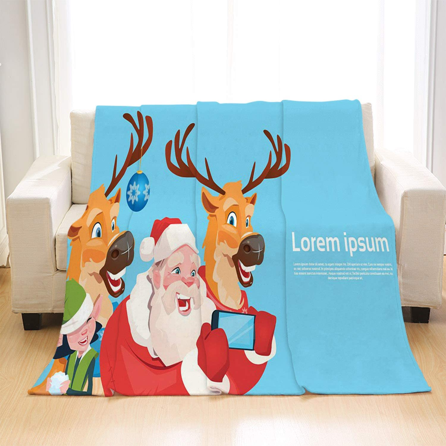 OTTOSUN Santa Claus Blanket Luxury Super Soft Throw Blanket,Santa Claus,Lightweight Warm Blanket for Bed Couch Sofa Outdoor Travel,Twin Size: 50Wx70L Inch