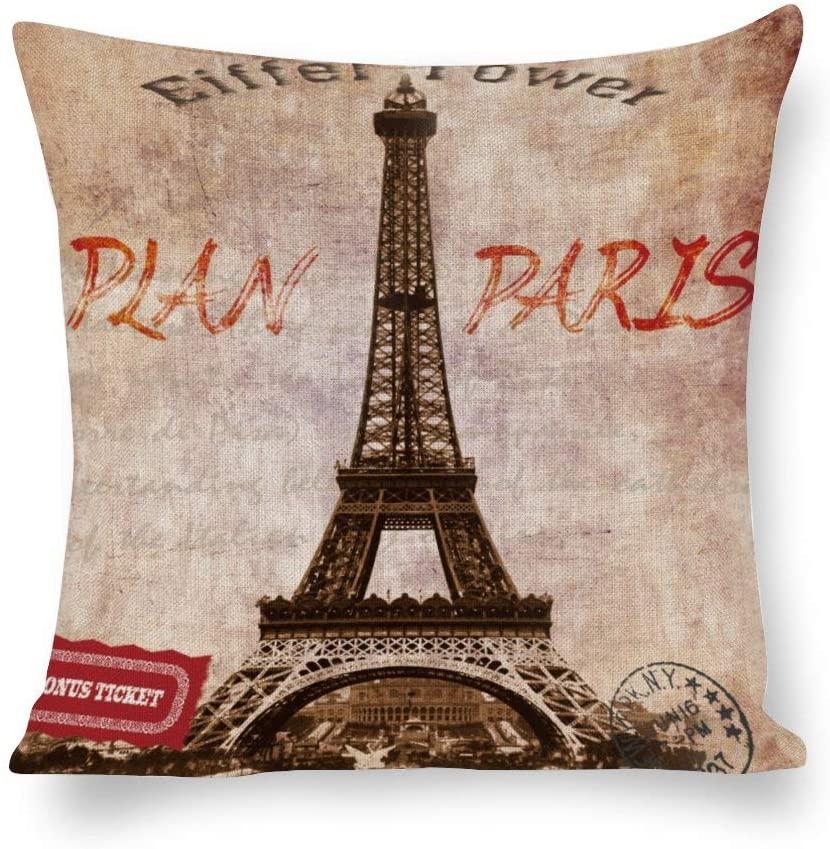 N/ A Retro Paris Effiel Tower Pillow Cover Linen,Vintage Newspaper Throw Pillow Case Cushion Cover for Sofa Couch, Decorative Pillowcase Rustc Farmhouse Home ljz7k09wttg1